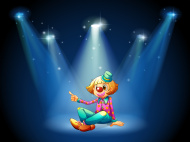 stock-illustration-24982996-stage-with-a-female-clown-sitting-at-the-center