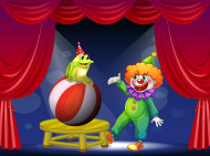 stock-illustration-26344099-clown-and-a-frog-performing-on-stage